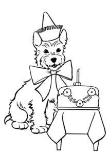 Собака поздравляет с днём рождения распечатать и скачать раскраску - Собаки и щенки