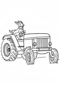 Бесплатная разукрашка для печати и скачивания Собака за рулём - Трактора
