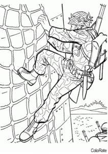 Солдат карабкается вверх (Военные) распечатать раскраску