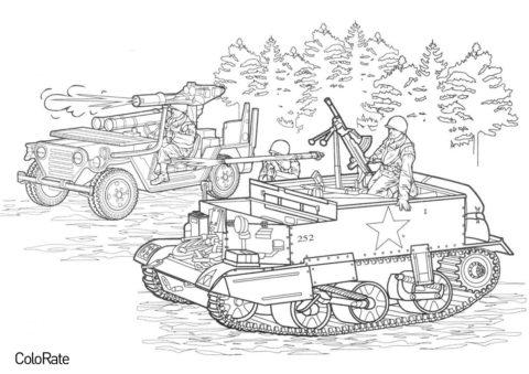 Солдаты в лесу - Военные распечатать раскраску на А4