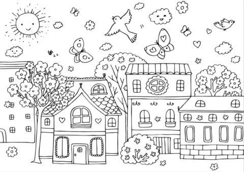 Солнечный городок - Весна распечатать раскраску на А4