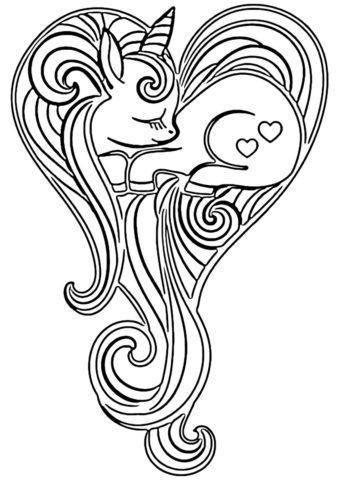 Сон с любовью в сердце (Единороги) бесплатная раскраска