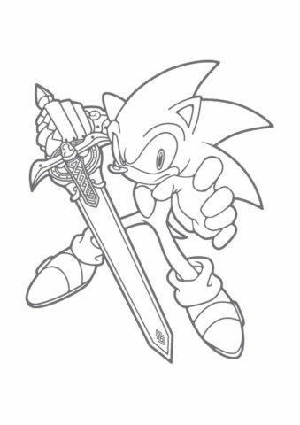 Соник с мечом в руке (Соник) распечатать разукрашку