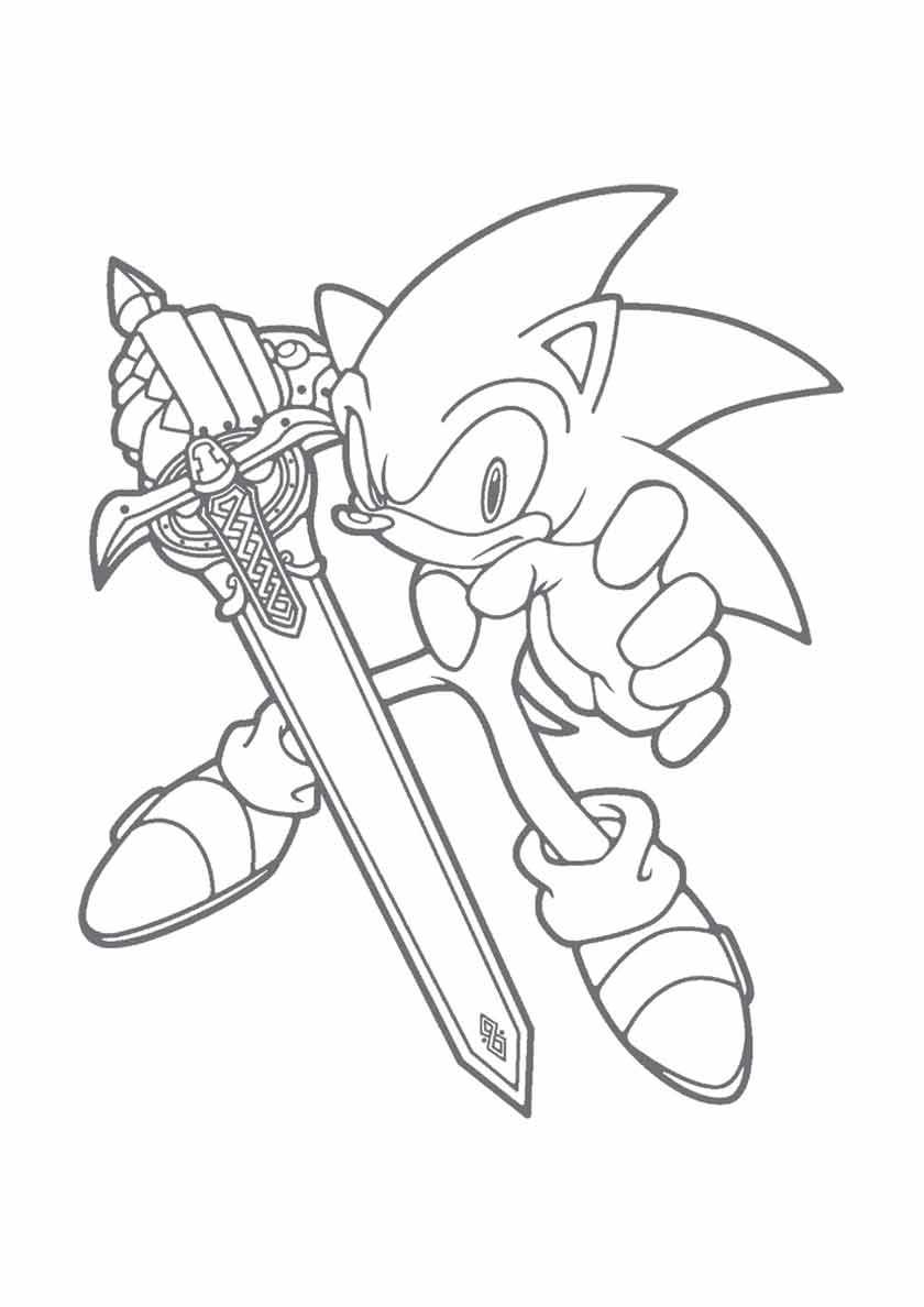 раскраска соник с мечом в руке распечатать соник