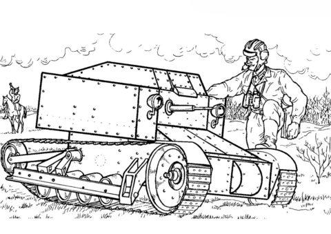 Советская танкетка Т-27 (Танки) раскраска для печати и загрузки