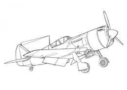 Советский истребитель Ла-9 (Самолеты) бесплатная раскраска