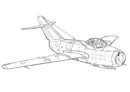 Советский истребитель МиГ-15 - Самолеты раскраска распечатать на А4