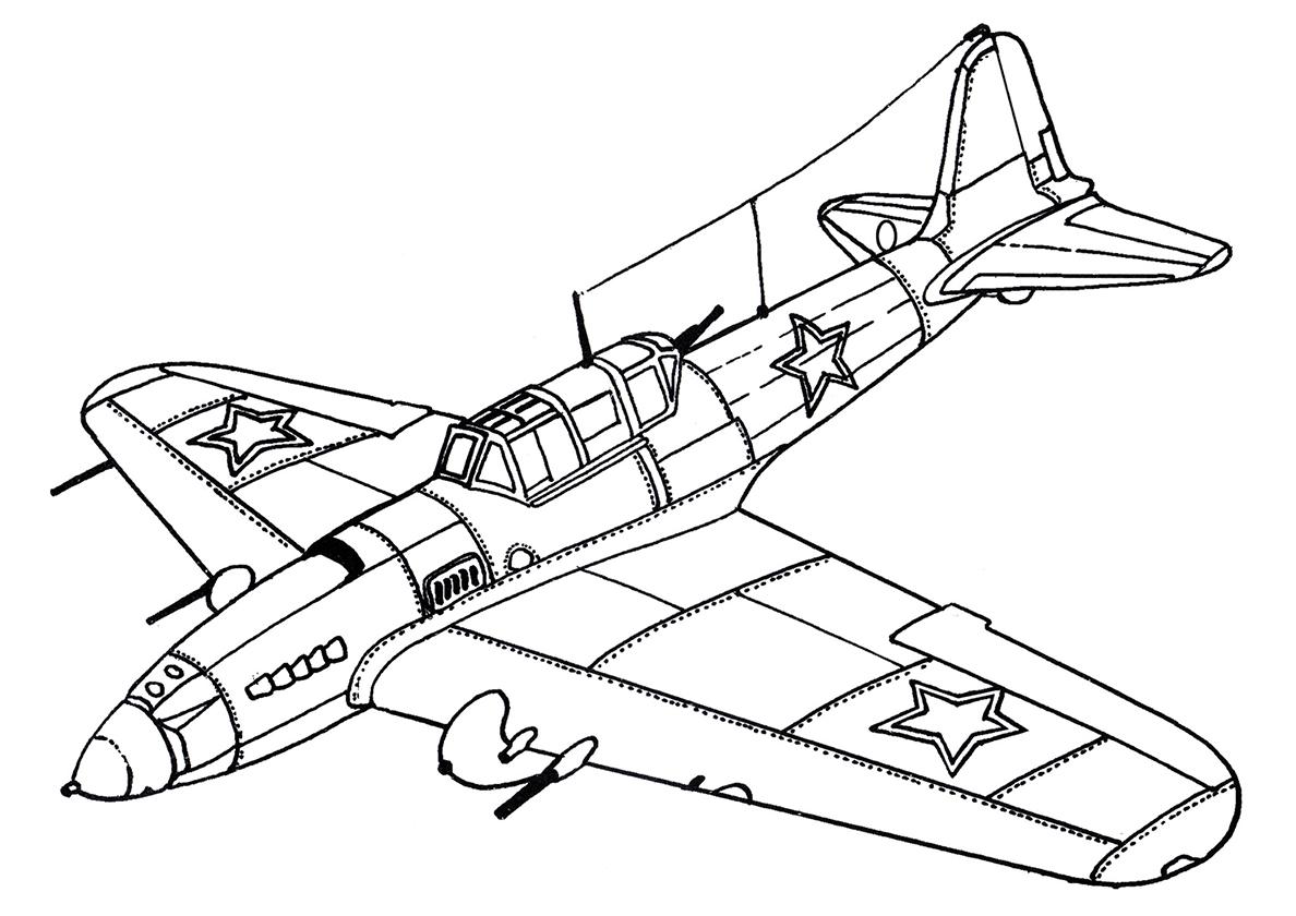 Раскраска Советский штурмовик Ил-2 распечатать | Самолеты