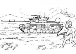 Бесплатная раскраска Советский Т-64 - Танки