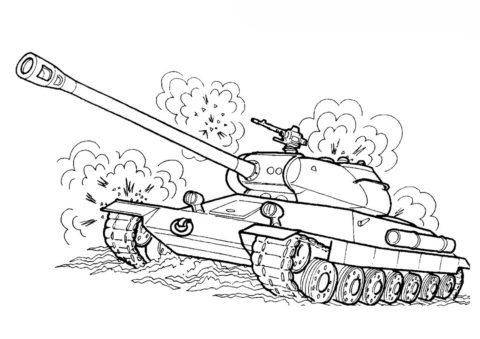 Советский танк ИС-6 (Танки) распечатать раскраску