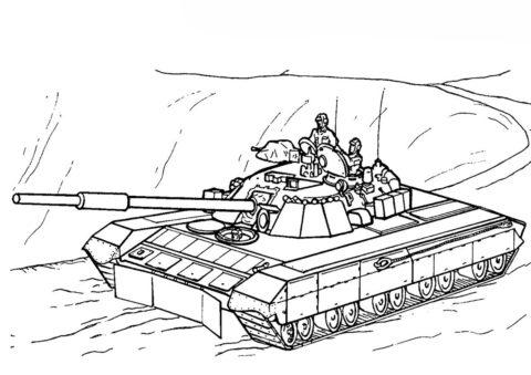Разукрашка Советский танк Т85 У распечатать на А4 и скачать - Танки