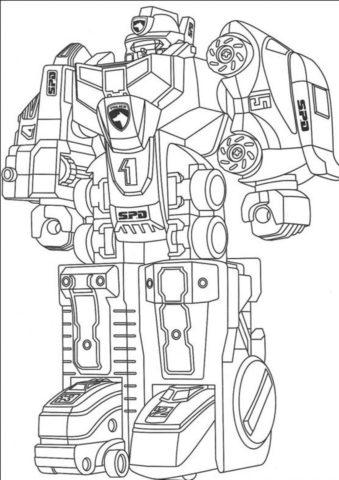 Раскраска SPD-робот распечатать на А4 - Роботы