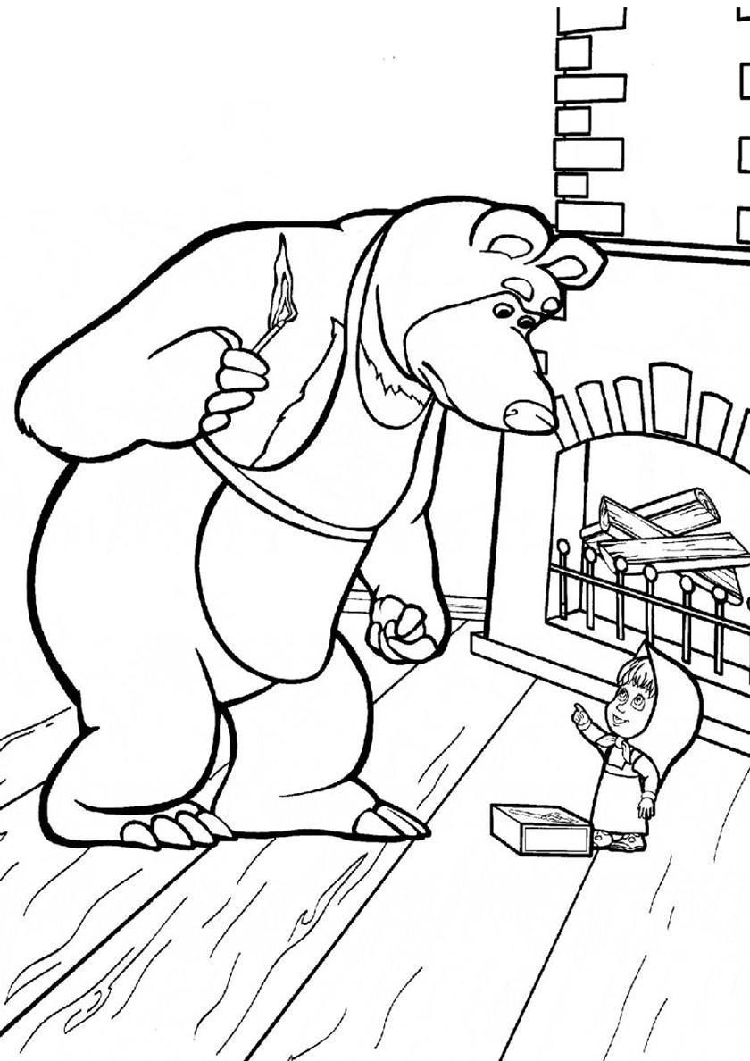 Раскраска Спички детям не игрушка распечатать | Маша и Медведь