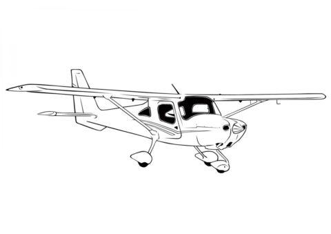 Раскраска Спортивный самолет Cessna 162 распечатать и скачать - Самолеты