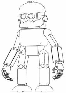 Роботы распечатать раскраску на А4 - Старый робот