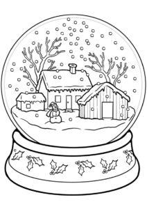 Зима распечатать раскраску на А4 - Стеклянный зимний шар