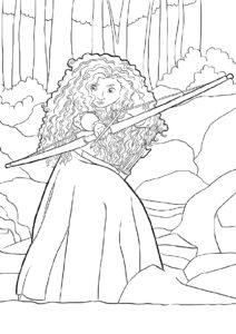Мерида бесплатная разукрашка - Стельба в горах