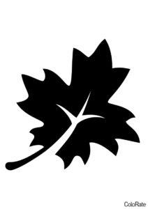 Трафареты листьев бесплатный трафарет распечатать на А4 - Стилизованный лист клена