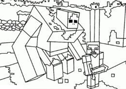 Стив и огромный голем раскраска распечатать на А4 - Майнкрафт
