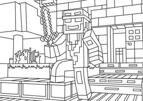 Стив охраняет дом раскраска распечатать на А4 - Майнкрафт