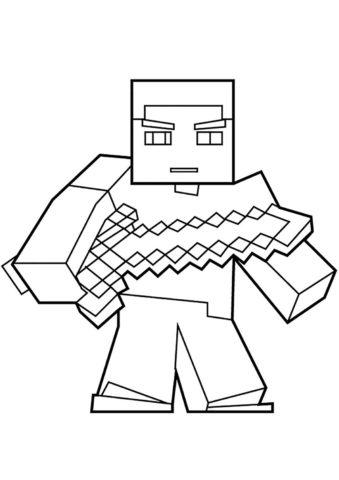 Раскраска Стив с мечом распечатать на А4 и скачать - Майнкрафт