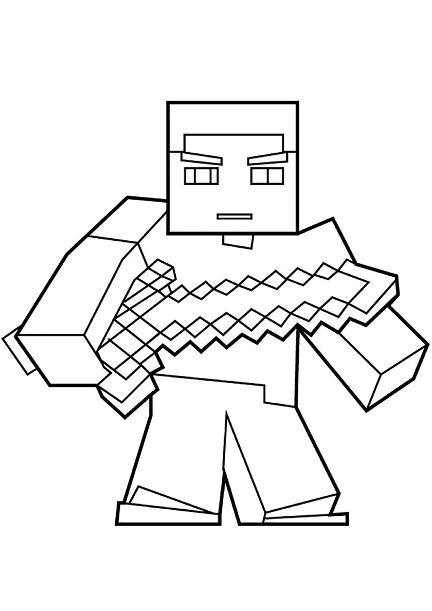 Раскраска Стив с мечом распечатать | Майнкрафт