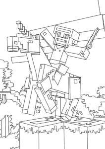 Стив верхом на единороге распечатать разукрашку бесплатно - Майнкрафт