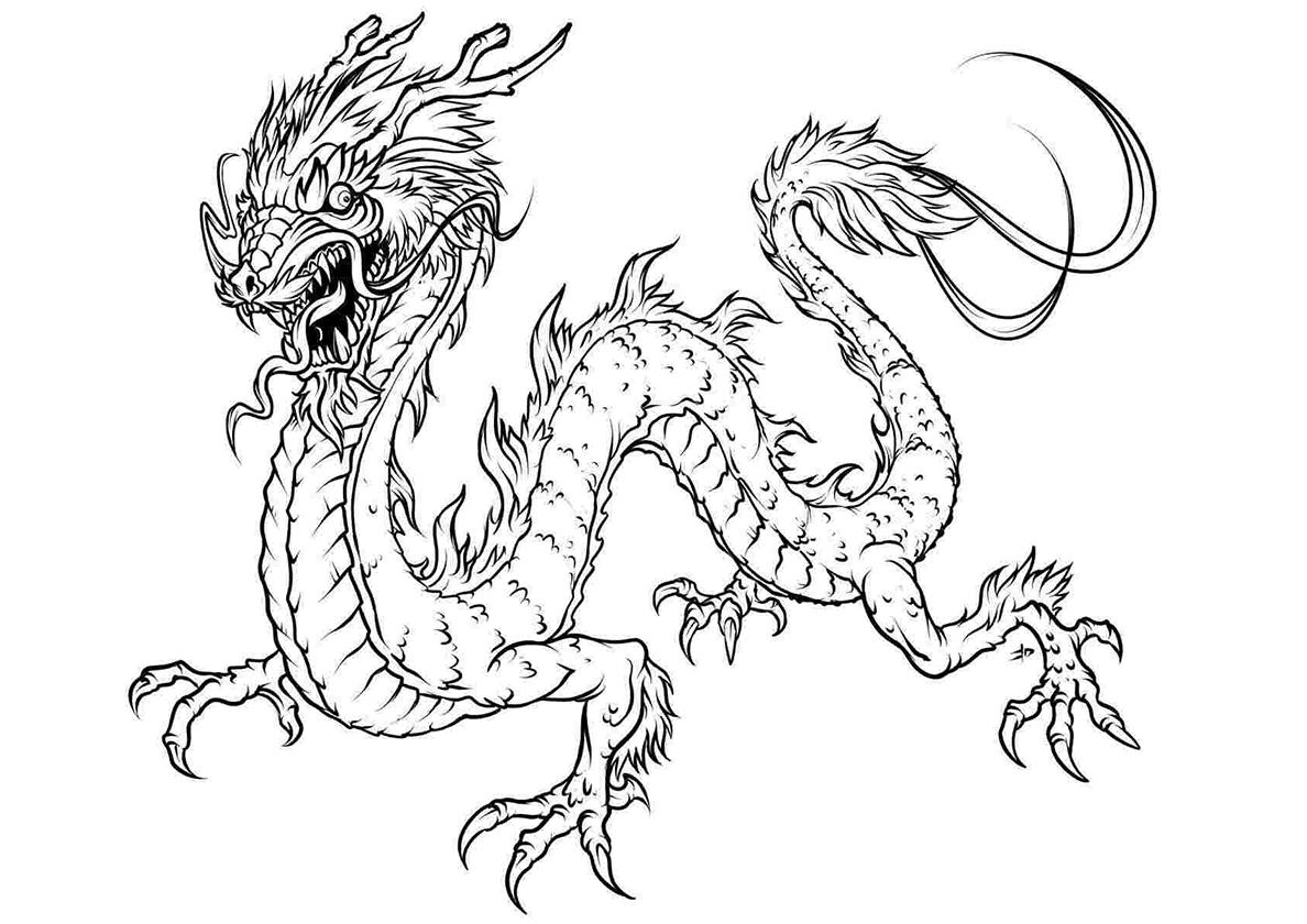 Раскраска Страшный дракон распечатать | Драконы