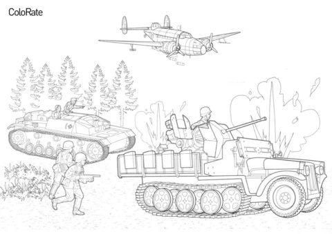 Stug III Aust, Локхид Хадсон Мк. VI и Demag D7 раскраска распечатать на А4 - Военные