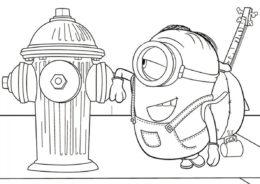 Стюарт знакомится с пожарным гидрантом бесплатная раскраска - Миньоны