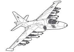 Бесплатная раскраска Су-25 Грач распечатать на А4 - Самолеты