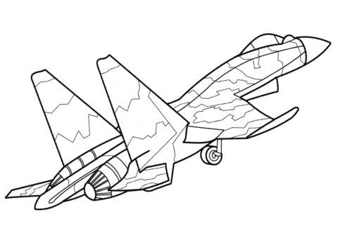 Разукрашка Су-37 Фланкер-Ф распечатать на А4 - Самолеты