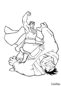 Раскраска Супермен побеждает великана распечатать на А4 - Супермен