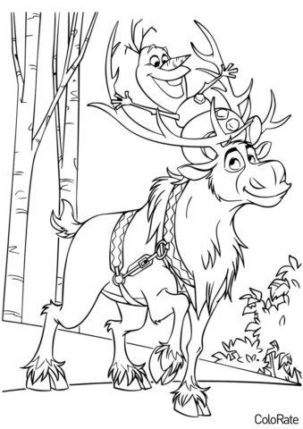 Раскраска Свен катает Олафа распечатать на А4 и скачать - Холодное сердце