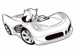 Раскраска Сверхзвуковой еж в машине - Соник