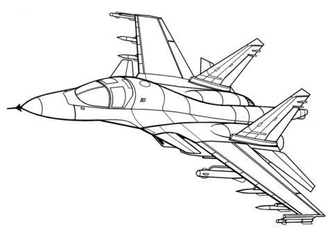 Самолеты распечатать раскраску - Сверхзвуковой истребитель СУ-34