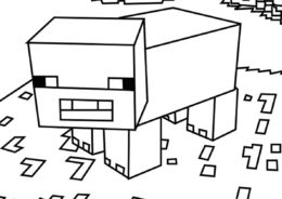Свинья Майнкрафт раскраска распечатать на А4 - Майнкрафт