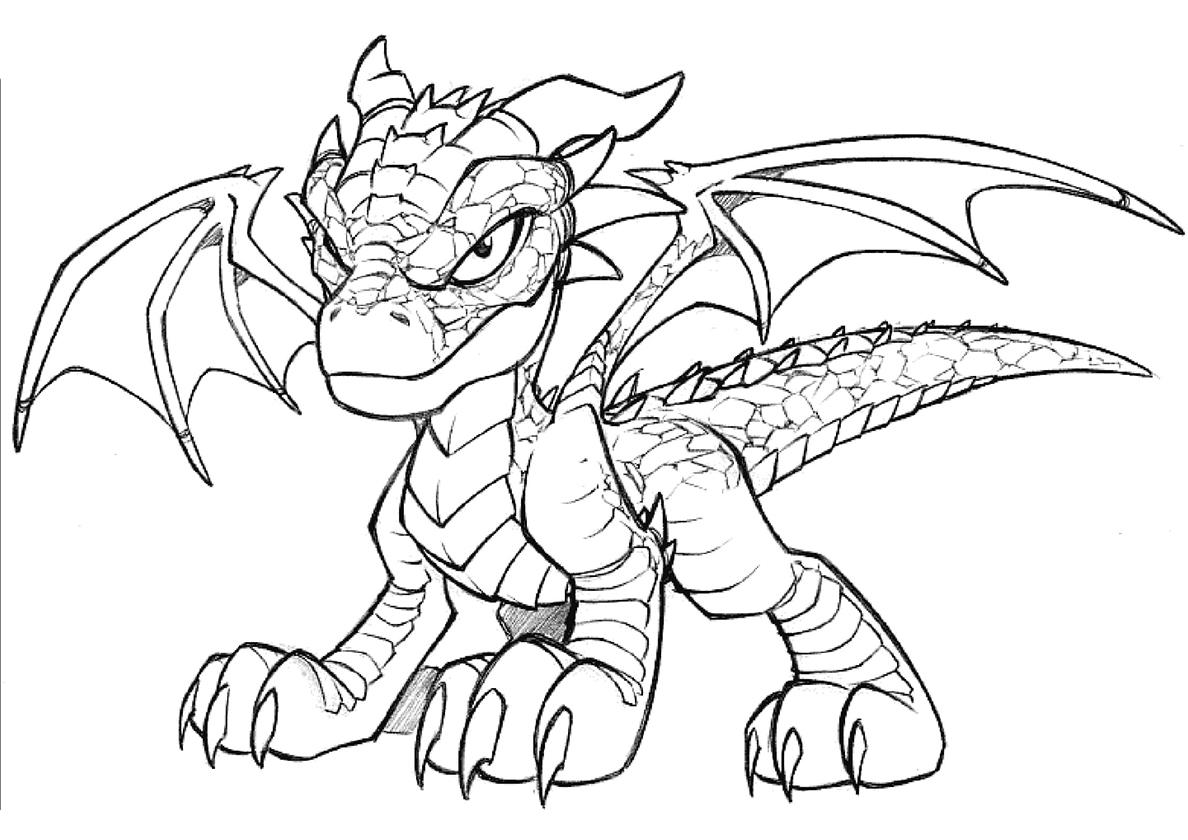 Раскраска Свирепый юный дракон распечатать | Драконы