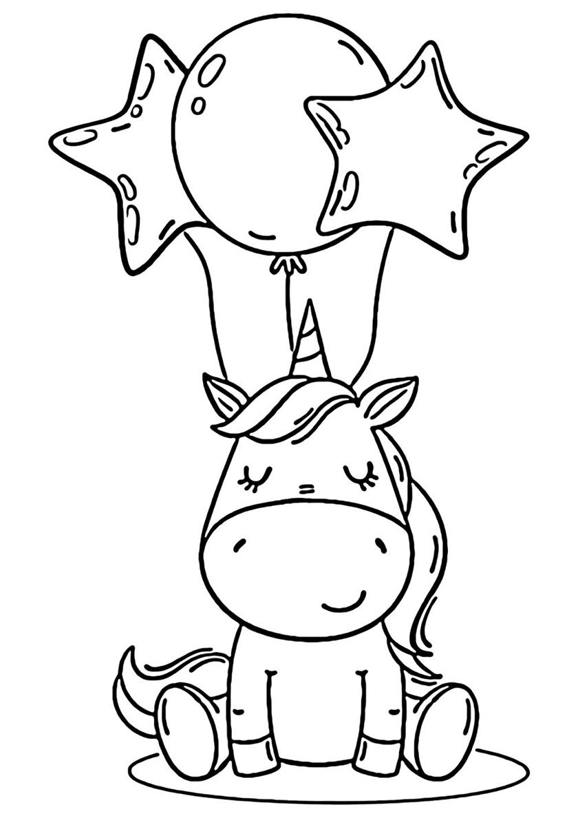 Раскраска Сюрприз на День рождения распечатать | Единороги