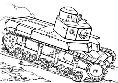 Бесплатная раскраска Т-24 (Россия) распечатать на А4 и скачать - Танки