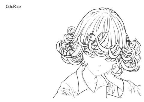 Тацумаки - Ванпанчмен раскраска распечатать на А4