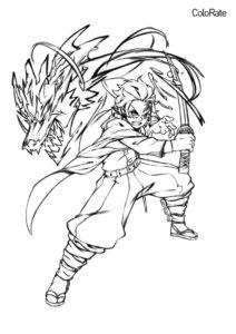 Раскраска Танджиро атакует - Раскраски из аниме «Клинок, рассекающий демонов»