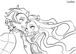 Разукрашка Танджиро и Незуко распечатать на А4 и скачать - Раскраски из аниме «Клинок, рассекающий демонов»