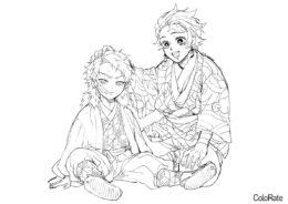 Танджиро и Сабито (Раскраски из аниме «Клинок, рассекающий демонов») распечатать бесплатную раскраску