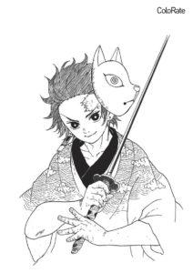 Танджиро с катаной раскраска распечатать на А4 - Раскраски из аниме «Клинок, рассекающий демонов»
