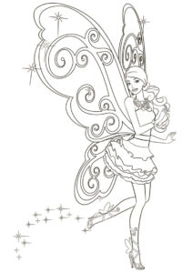 Разукрашка Танец феи распечатать на А4 и скачать - Барби