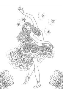 Танец с бабочками (Барби) распечатать разукрашку