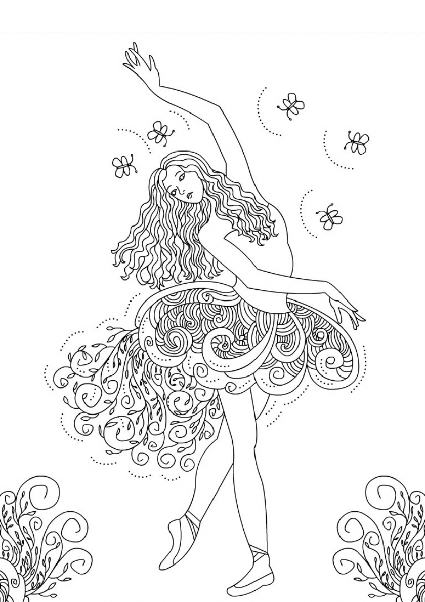 Раскраска Танец с бабочками распечатать | Барби