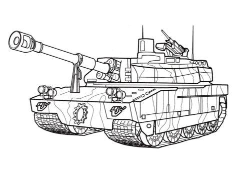 Танк AMX-56 Leclerc (Франция) разукрашка скачать и распечатать - Танки