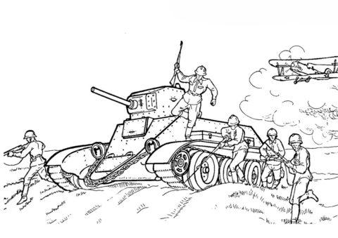 Танки бесплатная раскраска - Танк БТ1 (СССР)